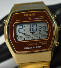 VINTAGE! 1970's Citizen LCD Multi Alarm Gold Tone Men's GN45 Watch NEW BATTERY!