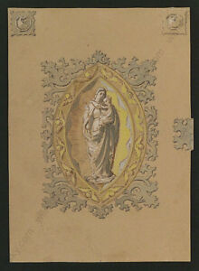 """Theodor Petter (1822-1872) """"Project for a Prayer Book Cover"""", Watercolor, 1849"""