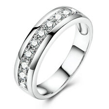 Sterling Silver 925 Jewelry Anniversary Bands Ring Round Cut 0.5ct Moissanite