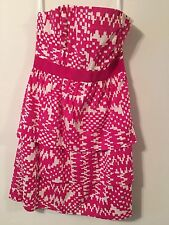BANANA REPUBLIC Pink White Patterned Layered Tiered Strapless Dress Women's 4