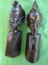 2 Sculptures personnages couple homme femme bois ébène Art Africain Haut 32,7 cm