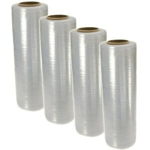 "18"" x 1500FT 100 Gauge Pallet Wrap Stretch Film Shrink Hand Wrap 1500' 4 Rolls"