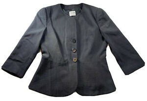 VTG Armani Collezioni Black Wool Women's White Polka Dots Jewel Neck Jacket 12