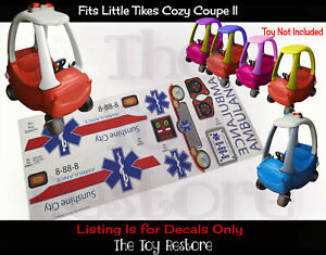 Toy Restore Replacement Stickers Ambulance Fits Little Tikes Cozy Coupe II Car