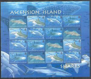 Ascension 2008 Fauna Wildlife Marinelife Fisch Fish Sharks compl. sheet MNH