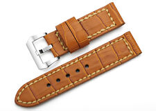 24mm Honey Brown Genuine Soft Leather Watch Band Steel Buckle Strap For Panerai