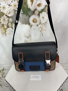 Coach Track Crossbody In Colorblock Signature Canvas Smooth Leather  NWTS $398