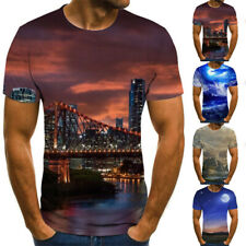 Hombre Casual Verano 3D Camiseta Estampada Cuello Redondo Manga Corta Tops L-3XL