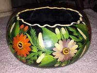 Vintage - Hand Painted Gourd Or Coconut Bowl