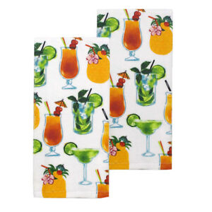 NEW Cocktails Mojito Margarita Rum Pineapple Drinks Kitchen Dish Towels Set Of 2