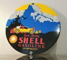 VINTAGE SHELL GASOLINE PORCELAIN QUICK STARTING NATIONAL PARK SERVICE PUMP SIGN