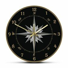 Mariner Compass Wall Clock Nautical Home Decor Windrose Navigation Round Silent