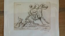 Harry Jackson incisione engraving signed cow boy 1969 western art sculptor