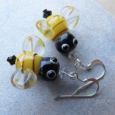 SJ1~3D Honey Bumble Bee Lampwork Sterling Silver Dangle Earrings w/ Swarovski