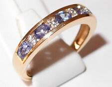 Tanzanite and Simulated Diamond Ring in gold overlay Sterling Silver, Size S.