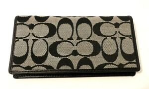 Coach CC Logo Print Black Gray Leather Trim Checkbook Cover Wallet