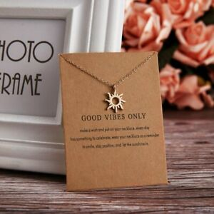 Fashion Gold Sun Paper Card Pendant Necklace Clavicle Chain Charm Jewelry Gift