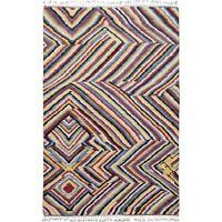 Abstract Modern Moroccan Hand-Knotted Area Rug Geometric Oriental Carpet 6x9