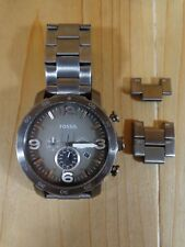 Fossil Wrist Watch Men's Jr1437 Nate Chronograph Smoke Stainless Steel 50 mm