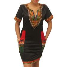 Fashion Women's African Print Boho Dashiki Dress Short Sleeve Party Evening Gown