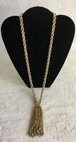 Vintage Signed Park Lane Chain Tassel Pendant Double Link Gold Tone Necklace
