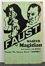 Rare 1940's Orig. Faust Master Magician Mystery Revue Superba Magic Show Poster