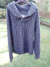 Fat Face Grey Marl Chunky Knit Jumper Medium Fishermans Sweater Cosy Wool Blend