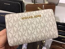 Michael Kors Jet Set Travel Bifold Zip Coin Wallet Card Holder PVC ( Vanilla)