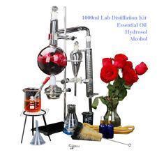 1000ml Lab Distillation Apparatus Water Distiller Essential Oil Glassware Kit