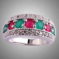 Ruby & Emerald & White Topaz Gemstone Silver Ring Size L N P R T V Y Round Cut