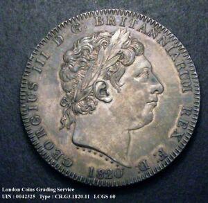 1820 EF George III Silver Crown LX CGS 60 (AU58-MS60)