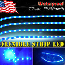 4pcs Blue 30CM/15 LED Car Motor Boat Truck Flexible Strip Light Waterproof 12V