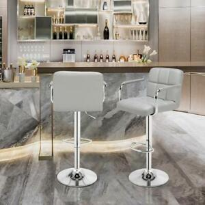 Pair of Breakfast Bar Stool PU Seat Swivel Kitchen Gas Office Chair Lift Grey