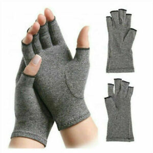 Anti Arthritis Compression Gloves Copper Fingerless Pain Support Sizes S M L