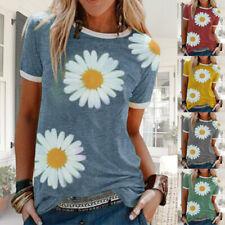 Women Summer O Neck Short Sleeve T Shirt Sunflower Print Blouse Casual Loose Top
