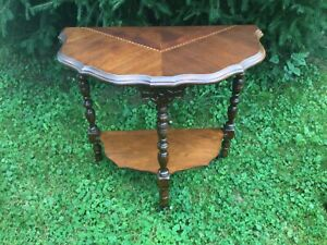 Vintage Antique Side Table Telephone Stand Wood Inlaid Mahogany 3 spindle wheels