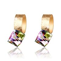 18k yellow gold gp made with SWAROVSKI crystal stud cube earrings