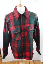 Vintage 60s Woolrich Plaid Workshirt Heavy Shirt Jacket Red Green Plaid Wool