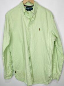 RALPH LAUREN Mens Long Sleeve Classic Fit Button Down Oxford Shirt, Green, L
