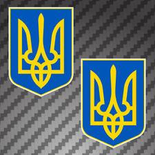 """2x Tryzub Ukraine Flag 4"""" Coat of Arms vinyl bumper sticker decals Ukranian"""