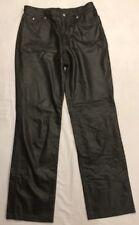 NINE WEST Women's Light Black 100% Leather Pants Size 4 Genuine Real Half Lined