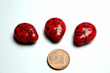 3 x gran vidrio mariquitas perla/Lady Bird Beads