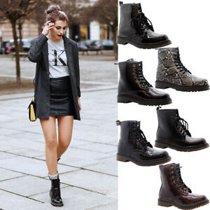 New Ladies Lace Up Ankle Boots Women Chunky Platform Goth Punk Grunge Shoes Size
