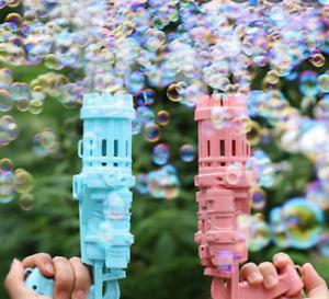 Pink Gatling Gun Machine Gun Electric Bubble Maker With Bubbles! -Pink