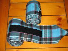 New set of 2 teal blue/black plaid horse polo wraps (horse/pony leg wraps)