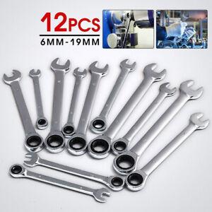 Jeu de 12 clés plates combinées à cliquet de 6 à 19 mm