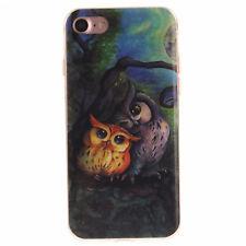 NOXCASE iPhone 7 Schutz Hülle Soft Cover Case Tasche Motiv Eule Slim Bumper TPU