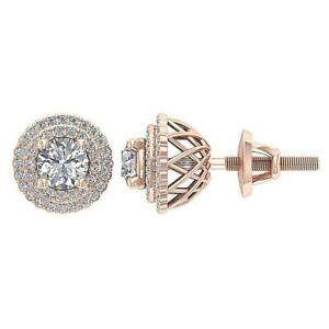 SI1 G 1.50Ct Natural Round Diamond Double Halo Solitaire Stud Earring Solid Gold