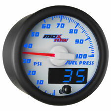 MaxTow 52mm White & Blue Double Vision 100 PSI Fuel Pressure Gauge  MT-WBDV11