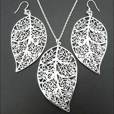 925Sterling Silver Fashion Jewelry Large Leaf Woman Necklace Earrings Set S180